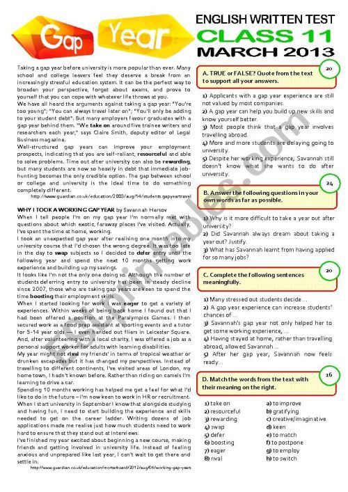 small resolution of 2page TEST (11 grade) \GAP YEAR\ (key included) - ESL worksheet by cagreis