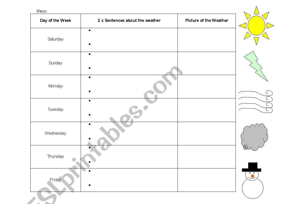 English Worksheets Weather Diary