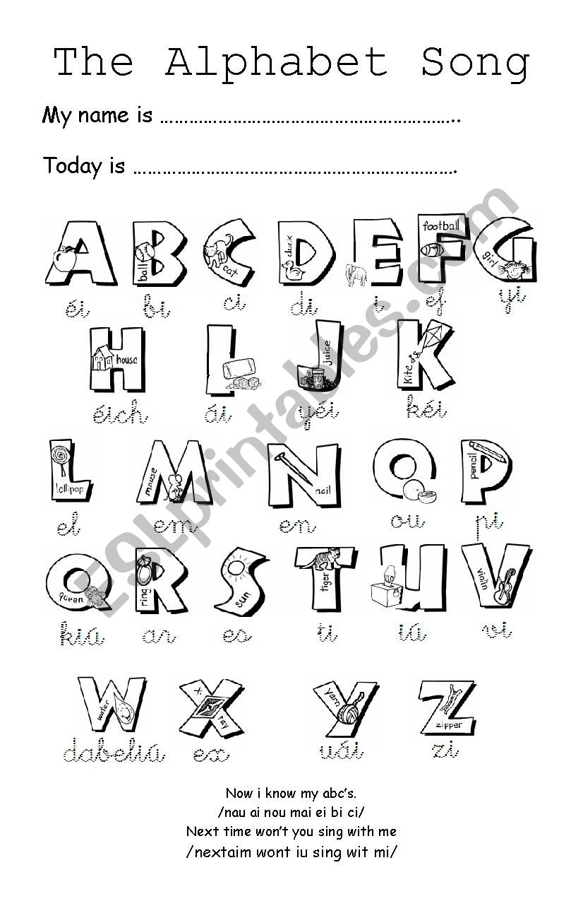 English worksheets: THE ALPHABET SONG