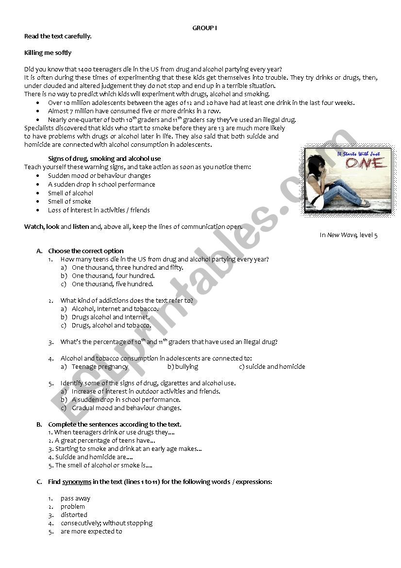 hight resolution of Reading and writing comprehension test - 9th grade - ESL worksheet by  RuiJorge