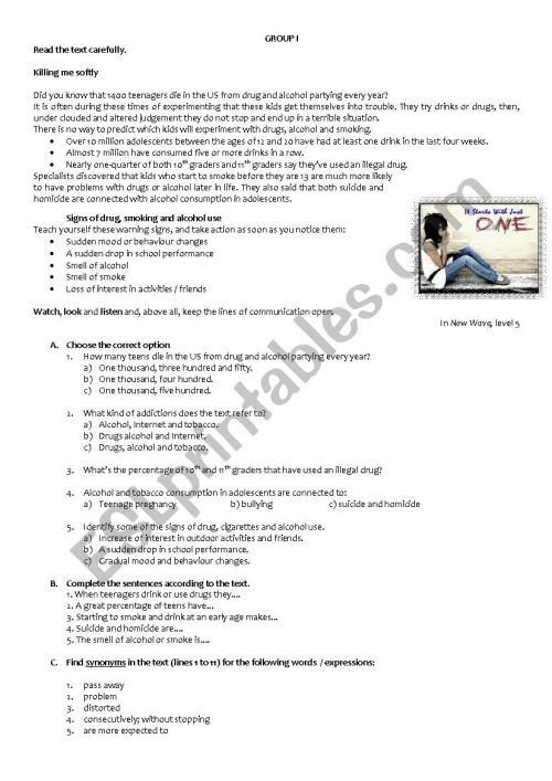 small resolution of Reading and writing comprehension test - 9th grade - ESL worksheet by  RuiJorge