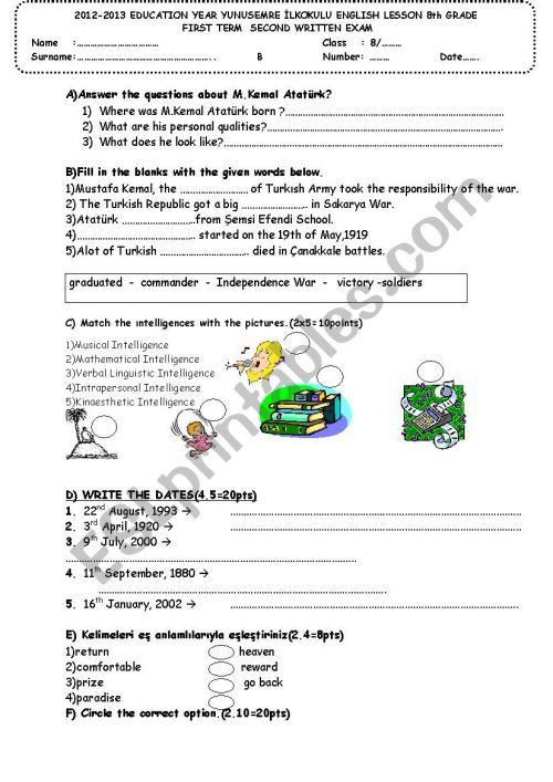small resolution of an english exam for grade 8 - ESL worksheet by scltmc