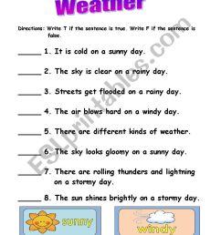 weather - ESL worksheet by lalainee [ 1300 x 850 Pixel ]