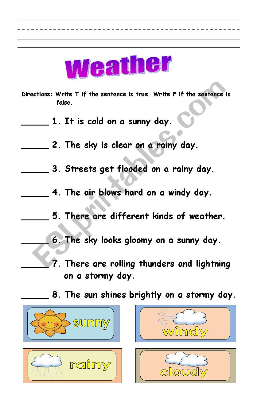 hight resolution of weather - ESL worksheet by lalainee