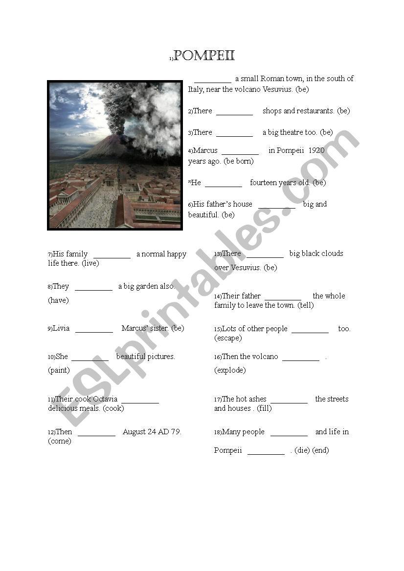 English worksheets: Pompeii