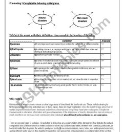 NATURAL versus MAN MADE DISASTERS Module6 Section 3rd year Tunisian pupils  - ESL worksheet by om montaha [ 1169 x 826 Pixel ]