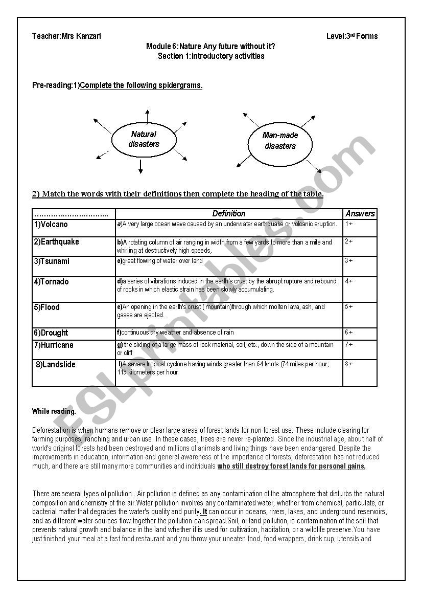 hight resolution of NATURAL versus MAN MADE DISASTERS Module6 Section 3rd year Tunisian pupils  - ESL worksheet by om montaha