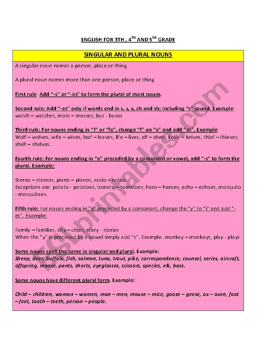 hight resolution of Singular and Plural Nouns rules - ESL worksheet by najat.burgos