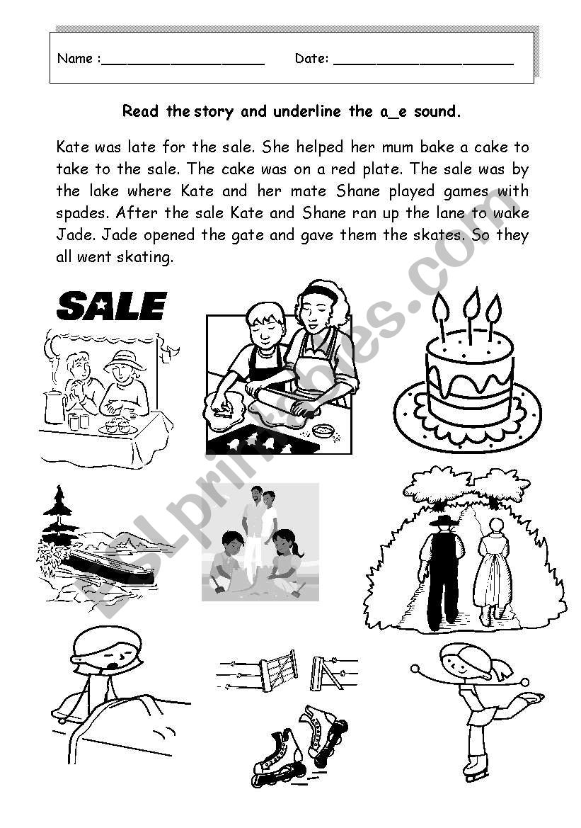 English worksheets: A story using words that have the long
