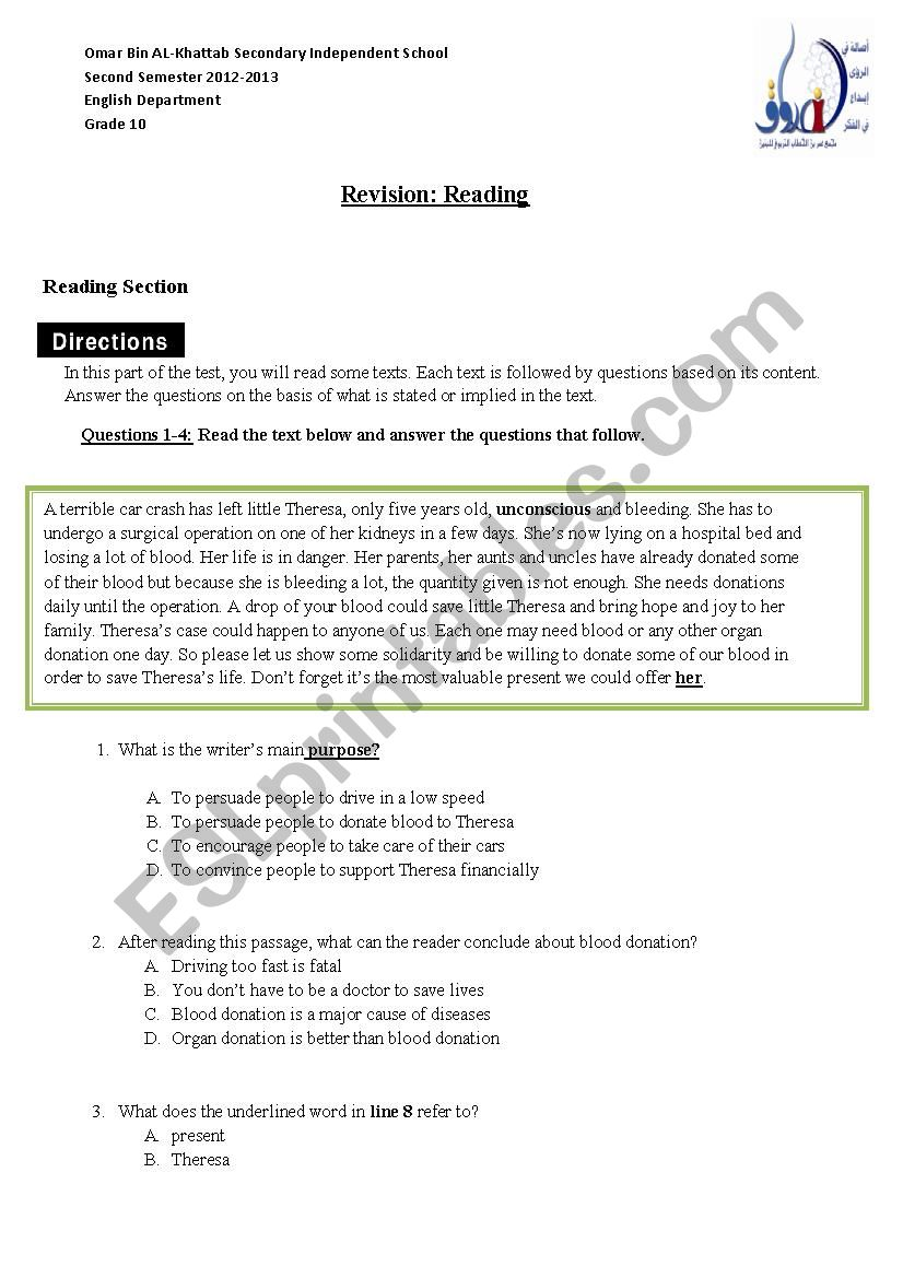 hight resolution of Reading Grade10 - ESL worksheet by salhimabrouk