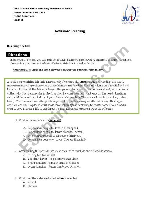 small resolution of Reading Grade10 - ESL worksheet by salhimabrouk