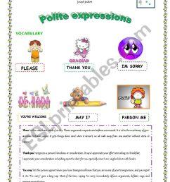 Polite expressions - ESL worksheet by maria.ramos [ 1169 x 826 Pixel ]