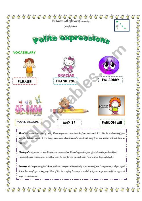 small resolution of Polite expressions - ESL worksheet by maria.ramos