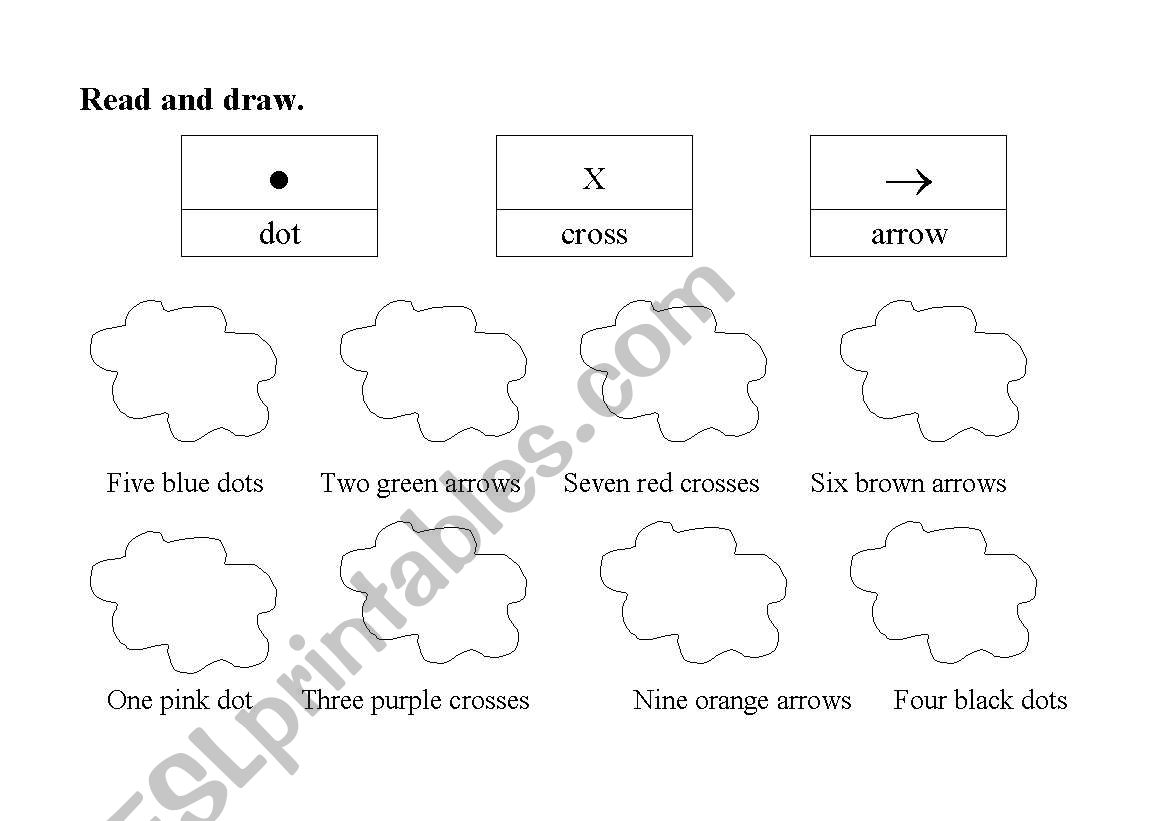 English Worksheets Dot Cross And Arrows
