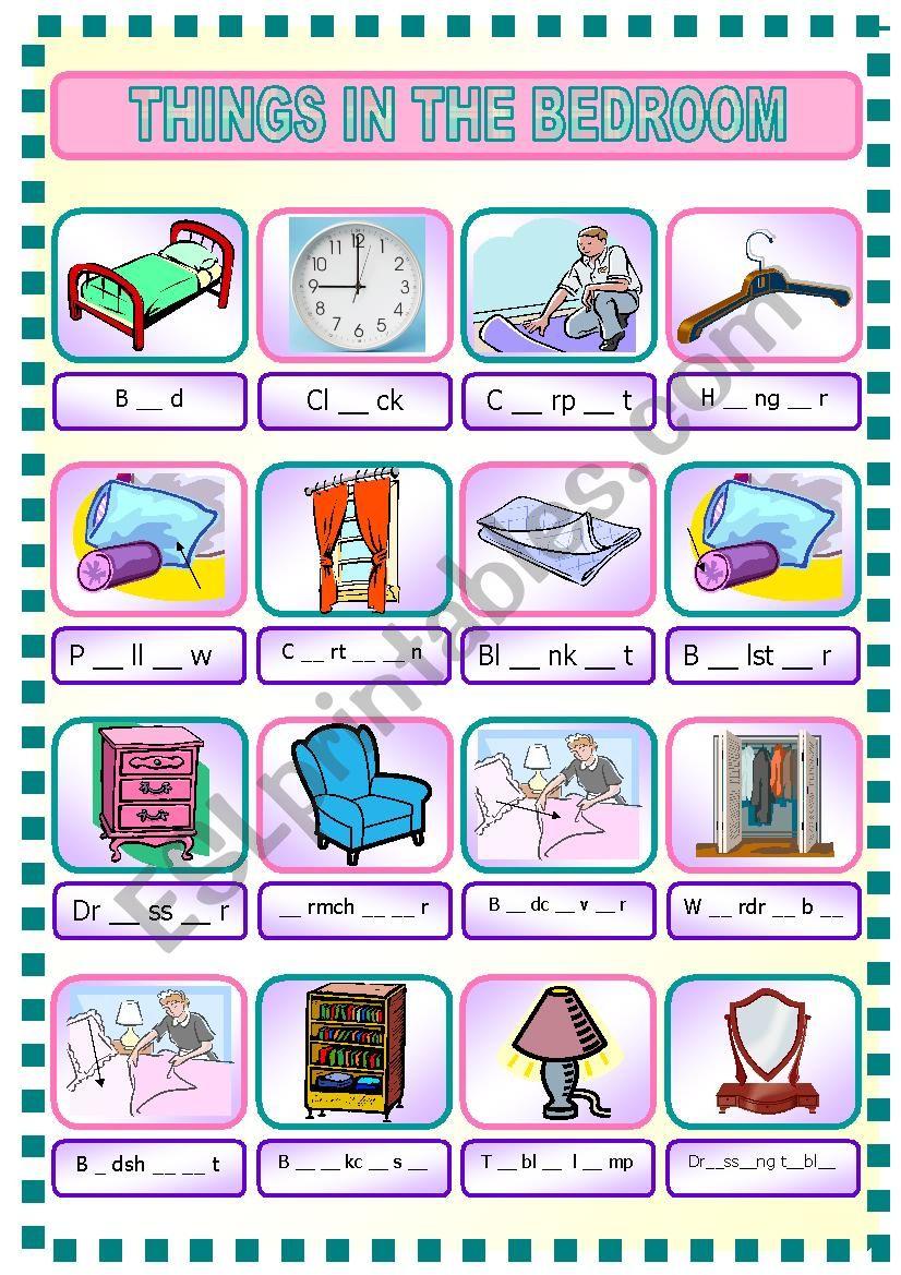 things in bedroom esl worksheet by rhae