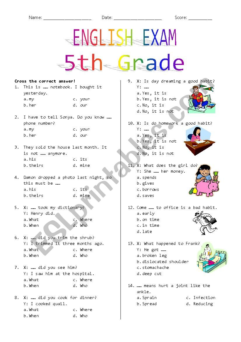 hight resolution of 5th Grade Final Exam - ESL worksheet by Rhae