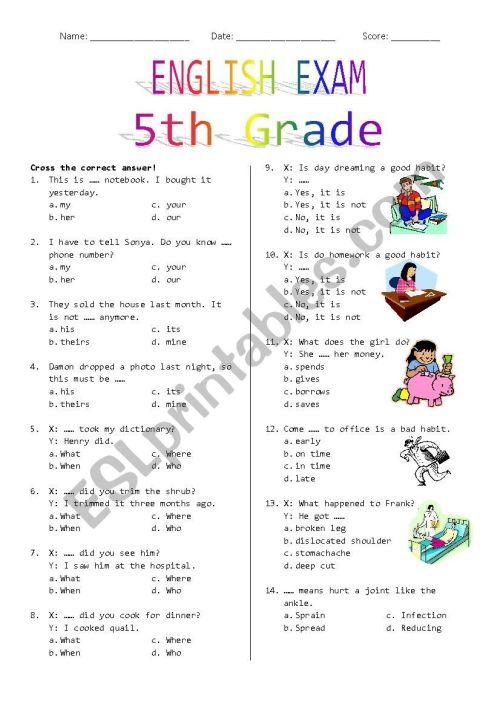 small resolution of 5th Grade Final Exam - ESL worksheet by Rhae