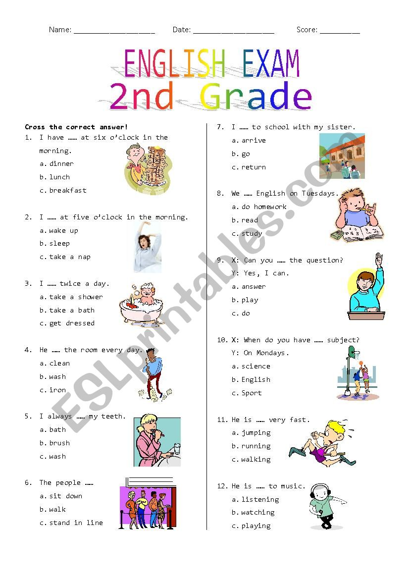 hight resolution of 2nd Grade Final Exam #1 - ESL worksheet by Rhae