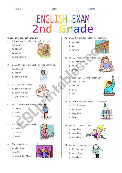 small resolution of 2nd Grade Final Exam #1 - ESL worksheet by Rhae