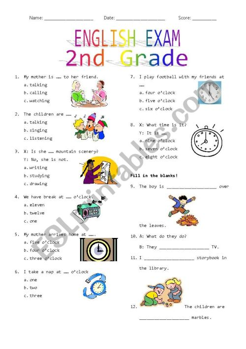 small resolution of 2nd Grade Final Exam #2 - ESL worksheet by Rhae