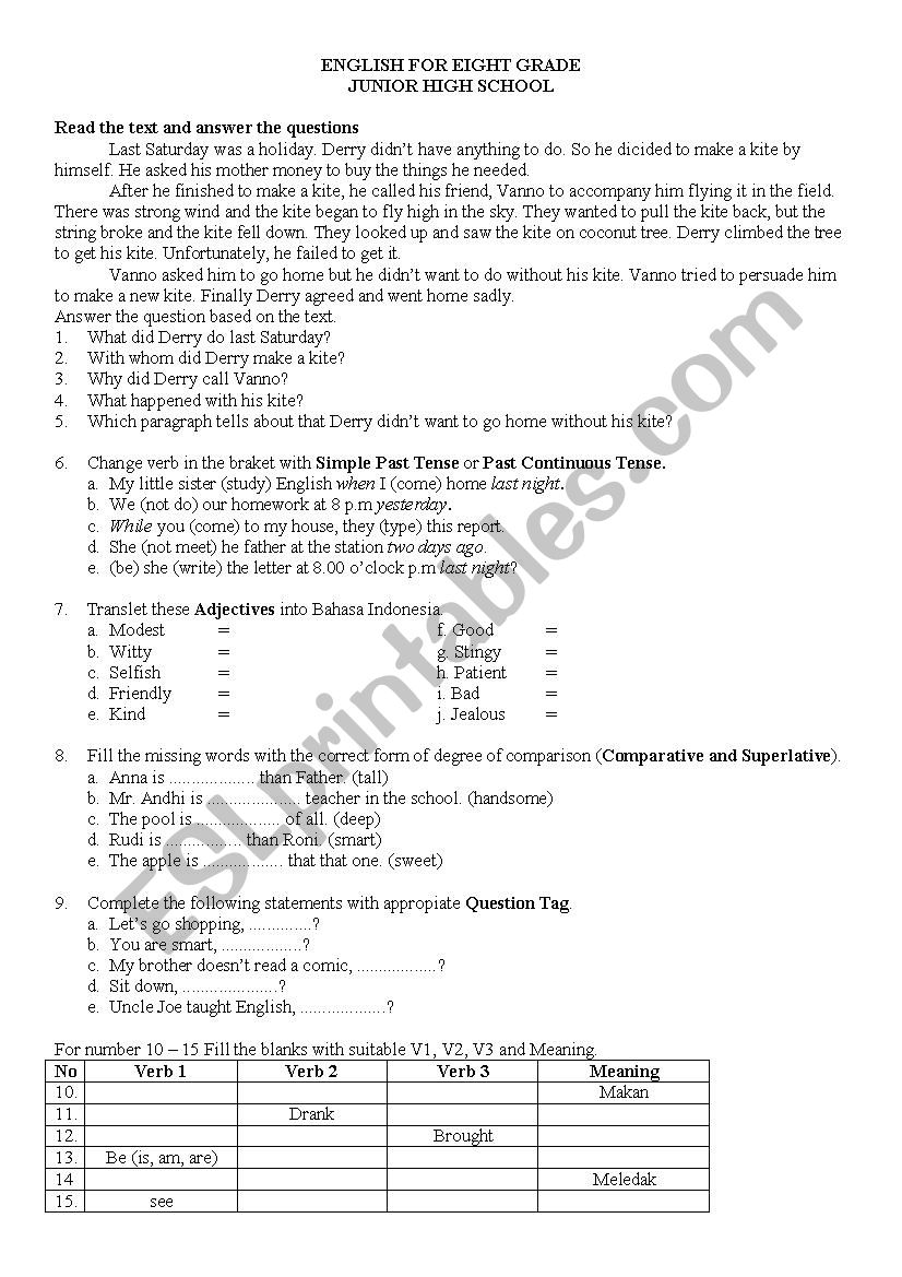 hight resolution of exam for 8th grade - ESL worksheet by rahman.dhika