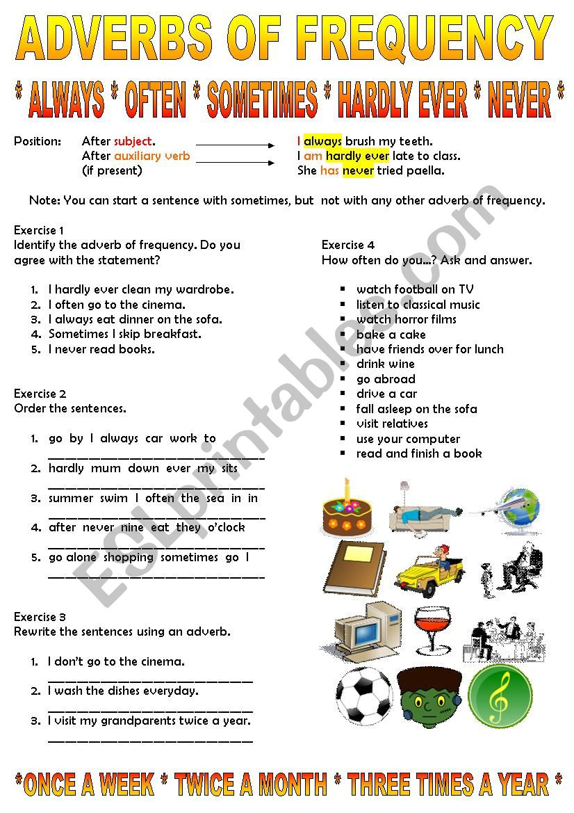 medium resolution of Adverbs of Frequency - ESL worksheet by tashaleks