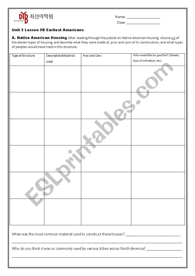 hight resolution of Early Native Americans - ESL worksheet by afanch