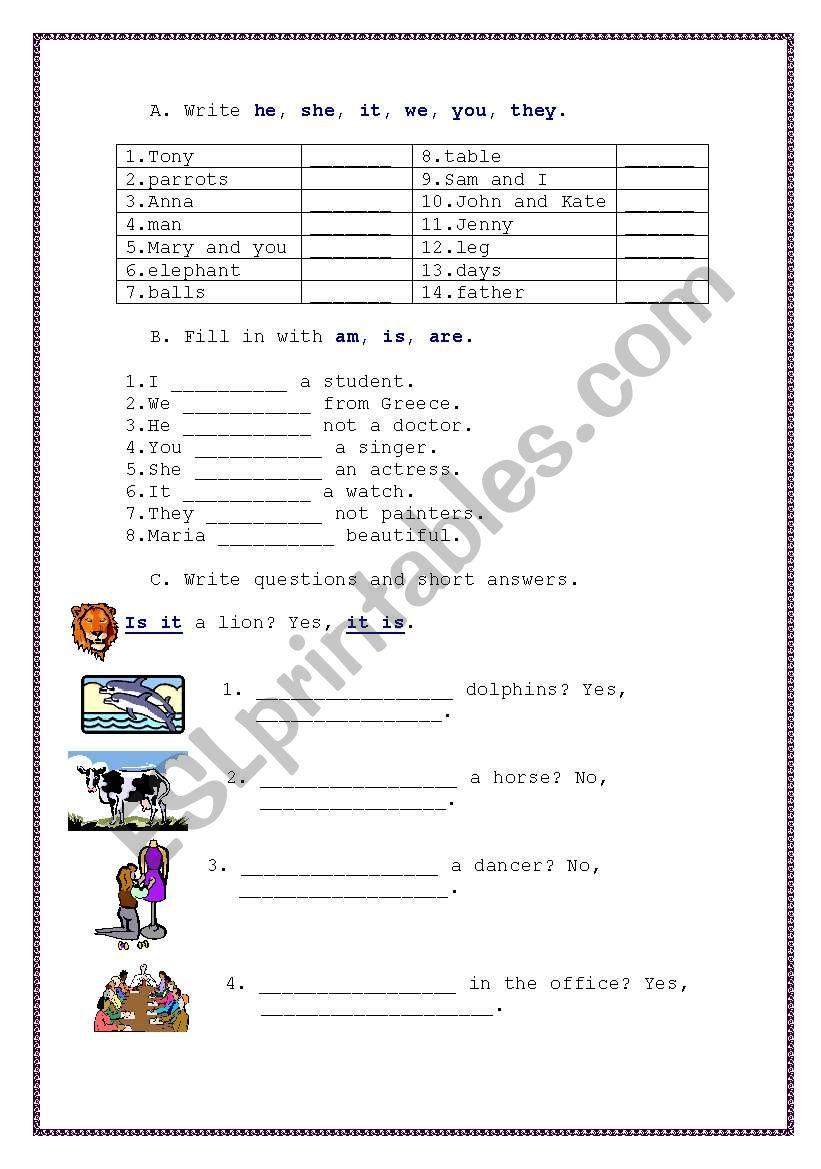 English worksheets: elementary grammar test