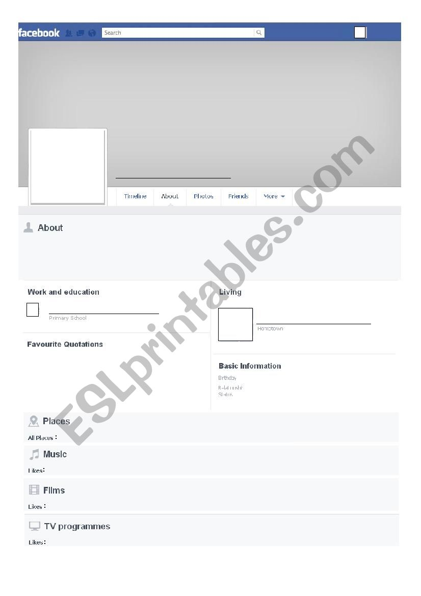English Worksheets Facebook Template About Me