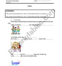 adjectives ending in ed and ing - ESL worksheet by teacher for peru [ 1169 x 821 Pixel ]