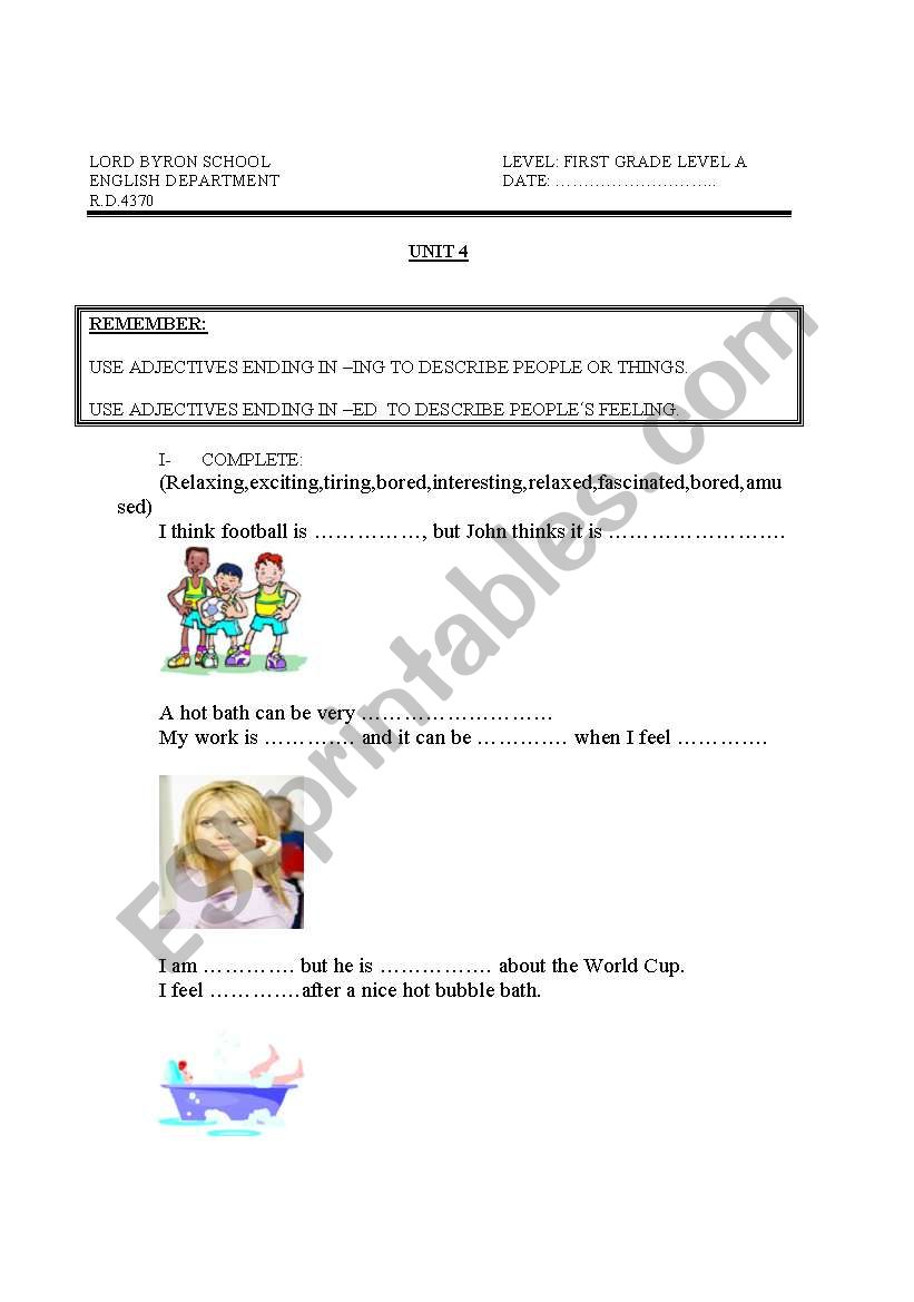 hight resolution of adjectives ending in ed and ing - ESL worksheet by teacher for peru
