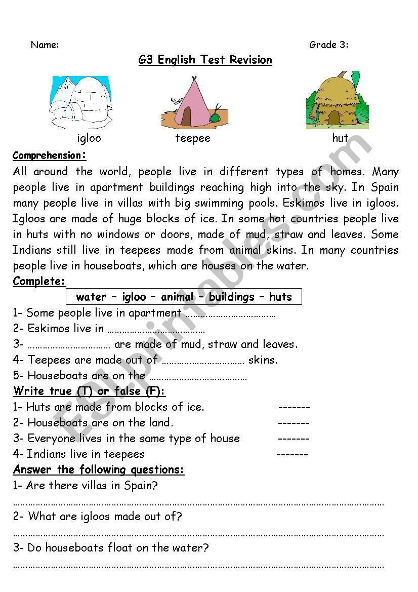 hight resolution of Grade 3 test revision 2 - ESL worksheet by sokar