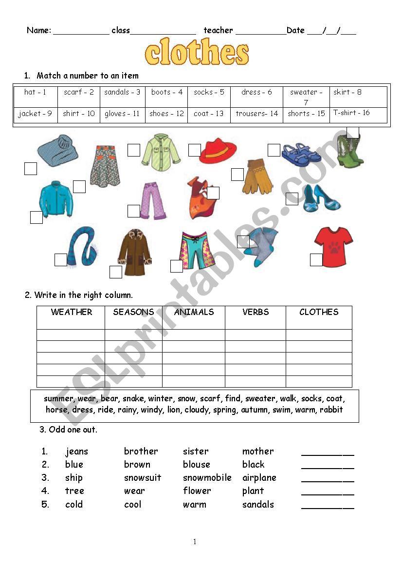 medium resolution of Clothes - ESL worksheet by schulzi
