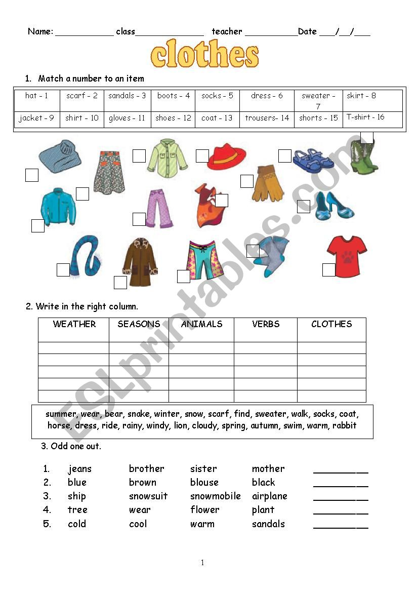 hight resolution of Clothes - ESL worksheet by schulzi
