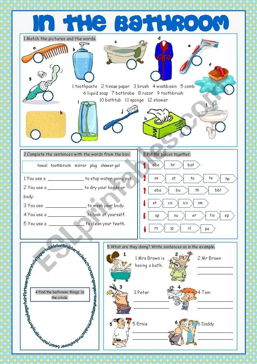Bathroom Vocabulary Exercises Esl Worksheet By Kissnetothedit
