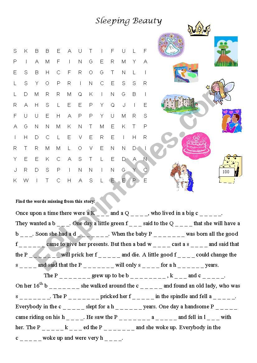 Sleeping Beauty Word Search Puzzle
