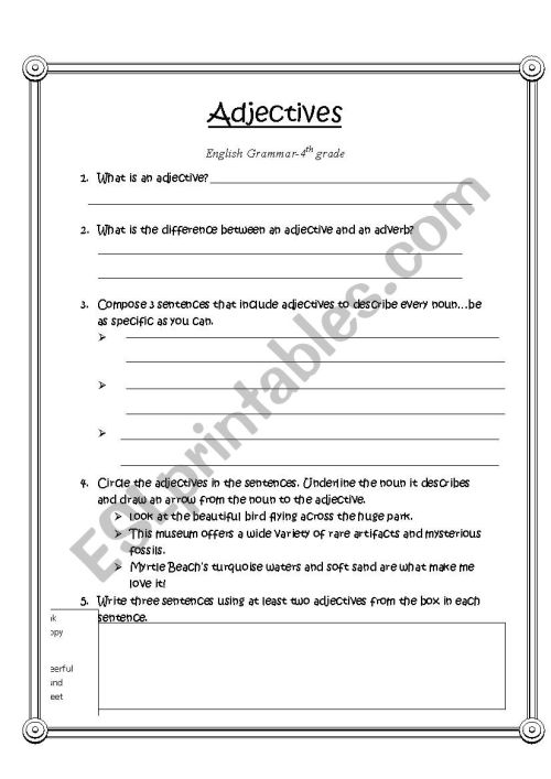 small resolution of Adjective Worksheet-4th grade - ESL worksheet by LIVVI