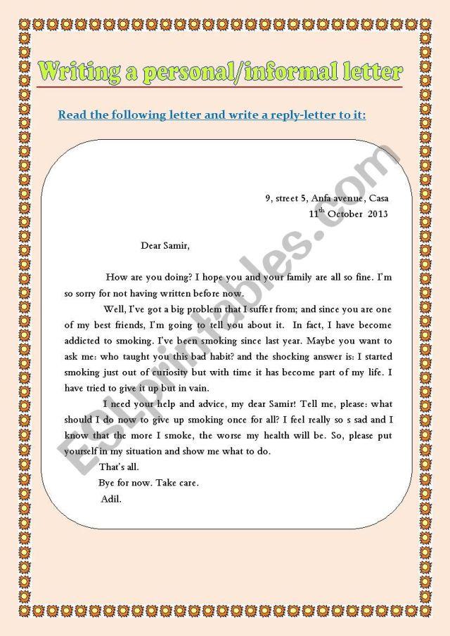 Writing a personal informal letter (a practice worksheet) - ESL
