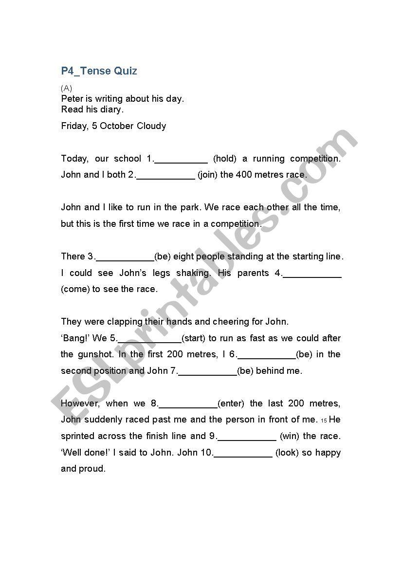 medium resolution of Tenses Quiz for Grade 4 - ESL worksheet by Jsbebr