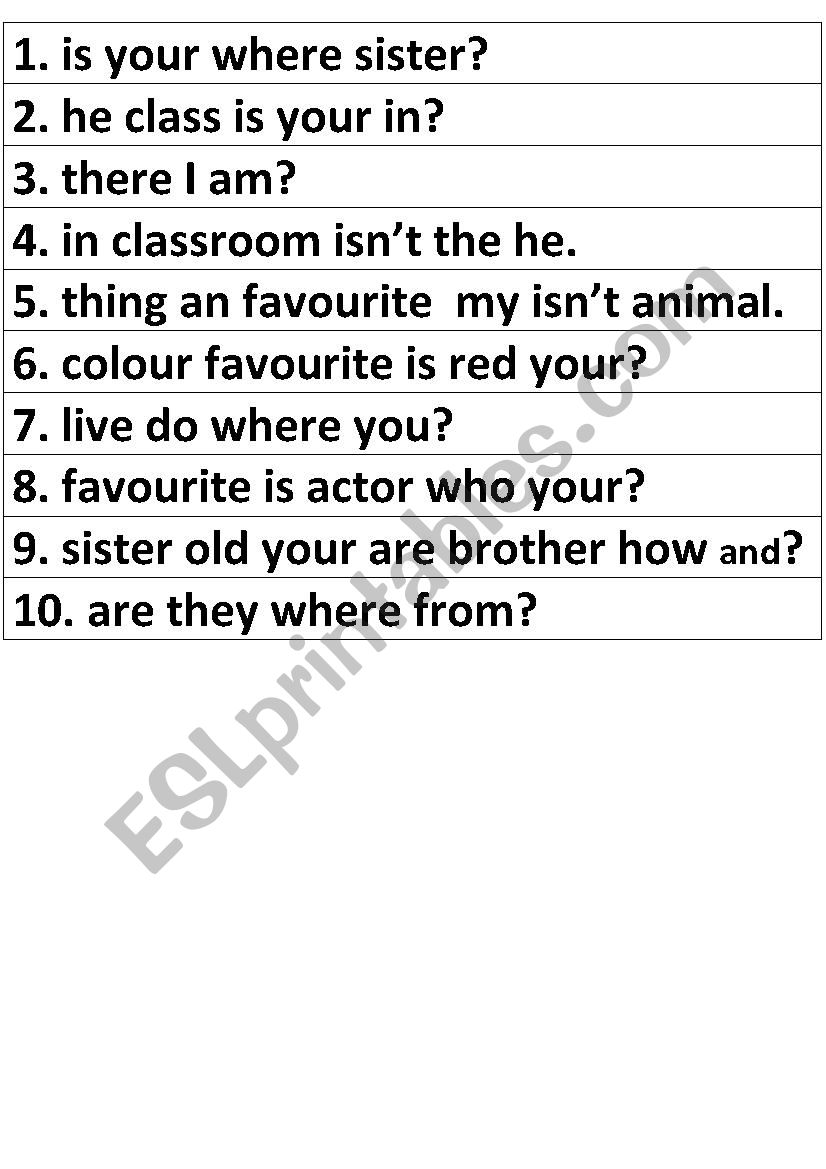 hight resolution of Jumbled Sentences with the Verb To Be - ESL worksheet by ecwartz