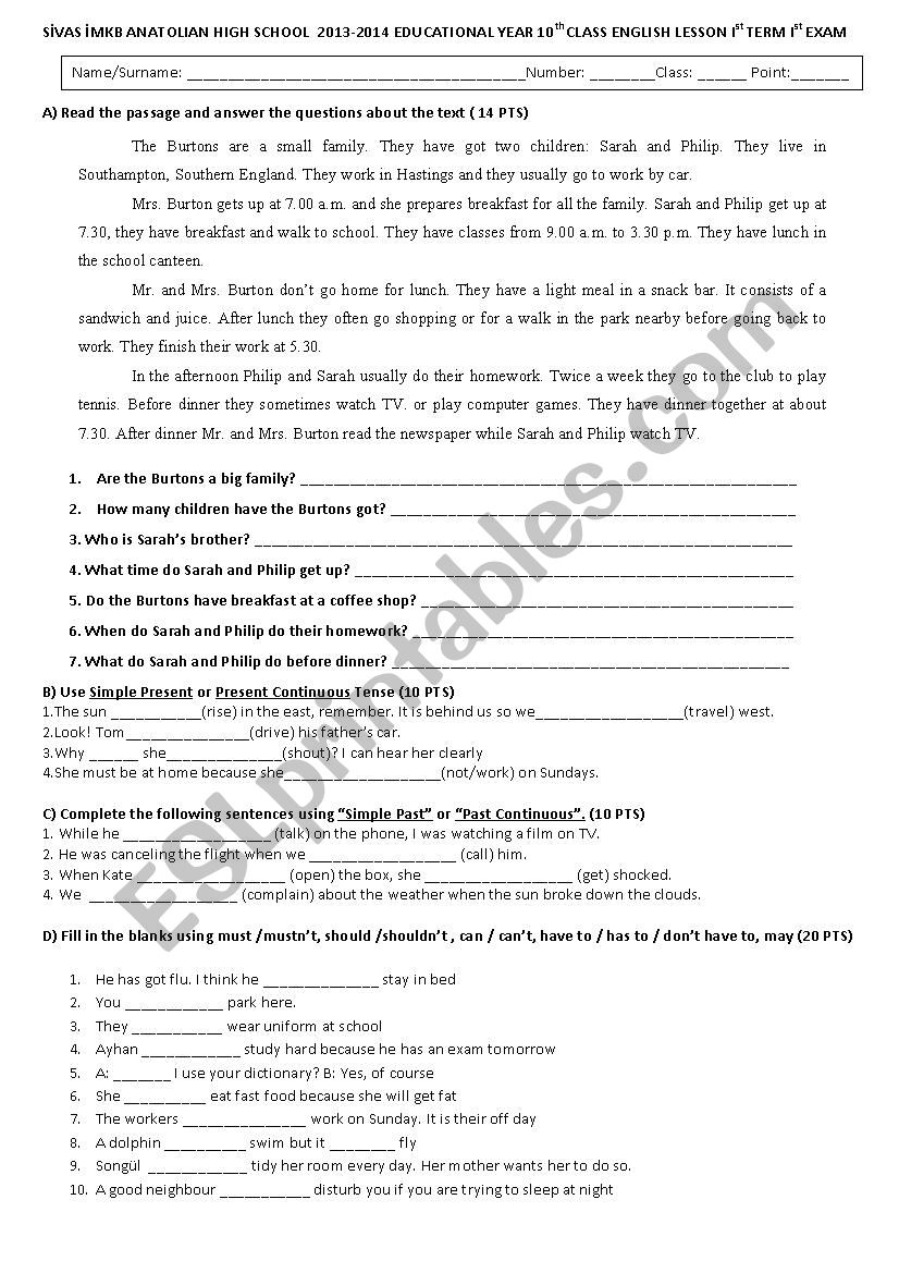 medium resolution of 10th grade exam for anatolian high school - ESL worksheet by lingua58