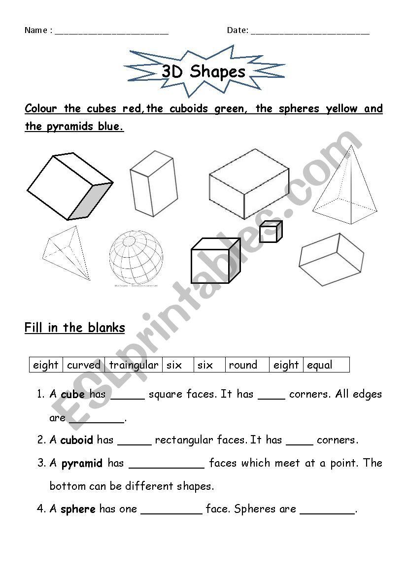 hight resolution of 3D Shapes - ESL worksheet by jcar0045