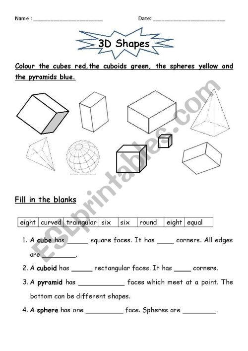 small resolution of 3D Shapes - ESL worksheet by jcar0045