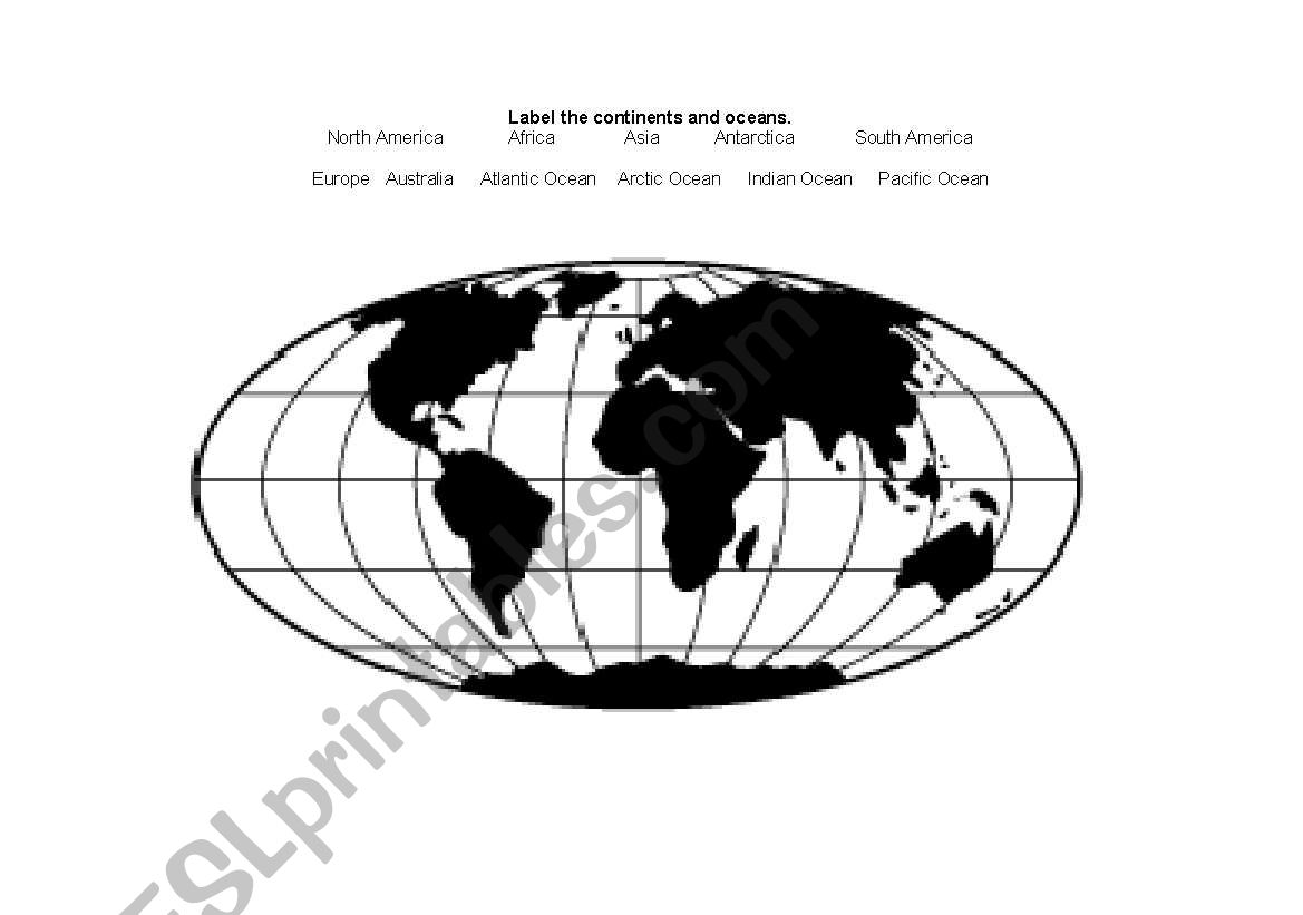 English Worksheets Label Continents And Oceans