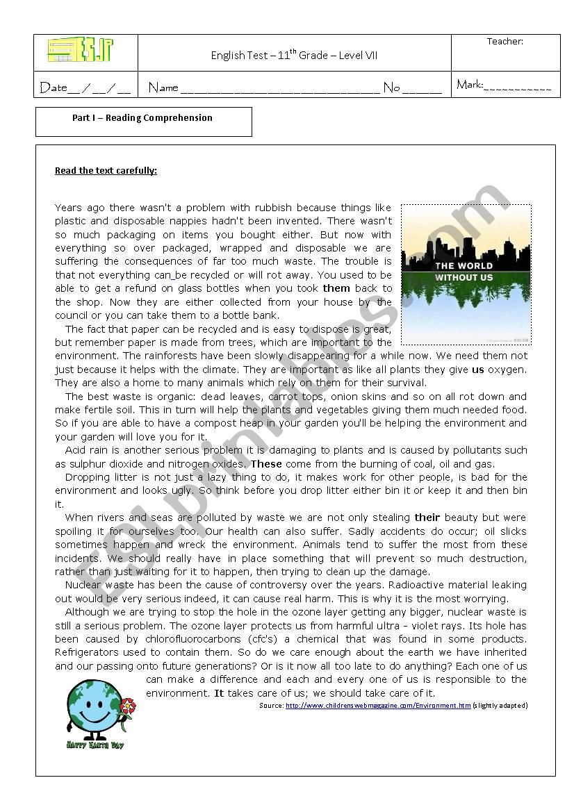 hight resolution of test on the environment 11th grade - ESL worksheet by sonia santos