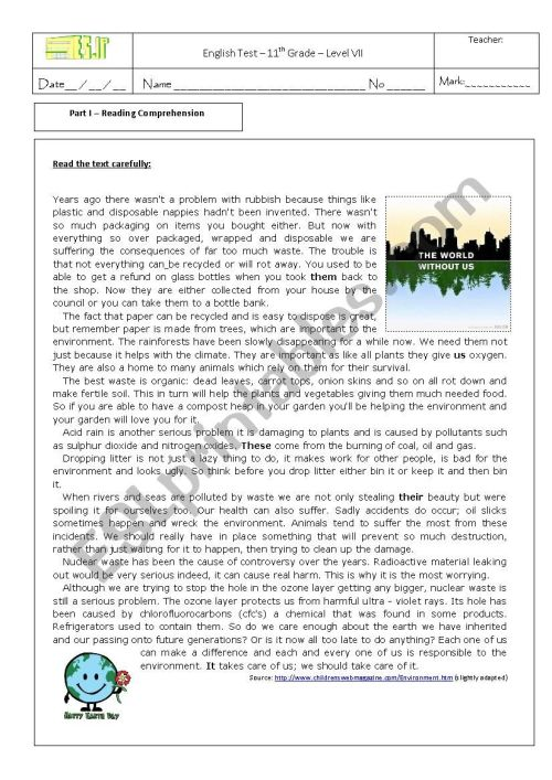 small resolution of test on the environment 11th grade - ESL worksheet by sonia santos