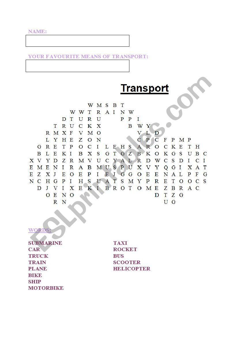 English worksheets: Word search TRANSPORT