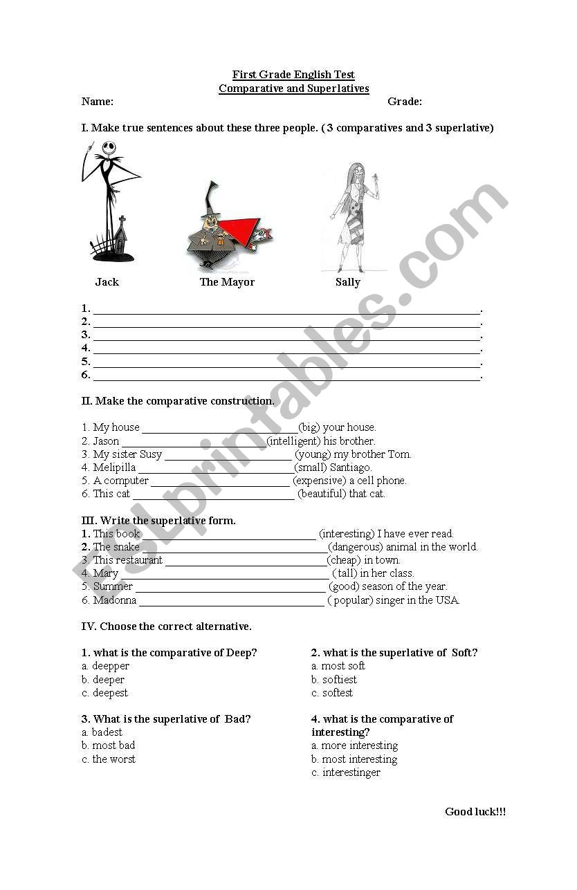 hight resolution of test comparative and superlatives - ESL worksheet by sayencita24