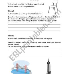 Grade 3 Science Structures - ESL worksheet by Ashely [ 1169 x 826 Pixel ]
