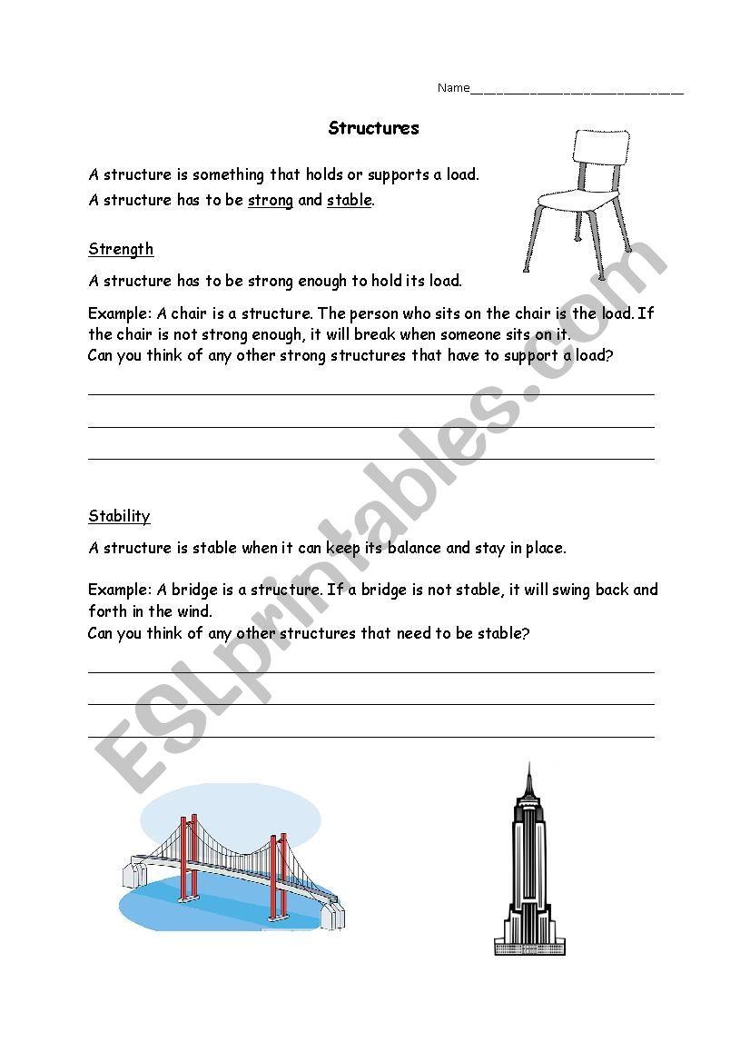 medium resolution of Grade 3 Science Structures - ESL worksheet by Ashely